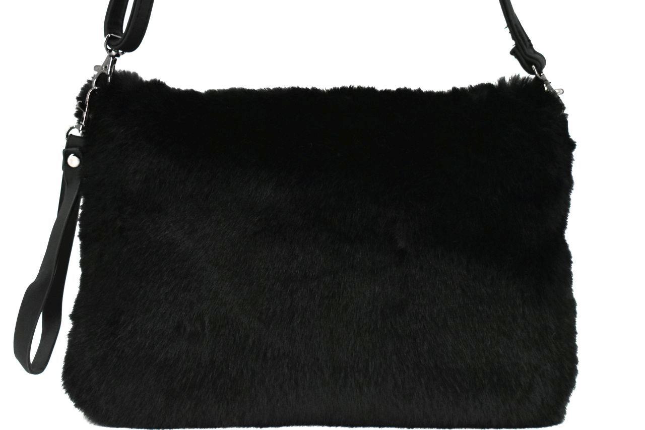 Dámská kabelka crossbody Melas / s umělé kožešiny - černá 38752