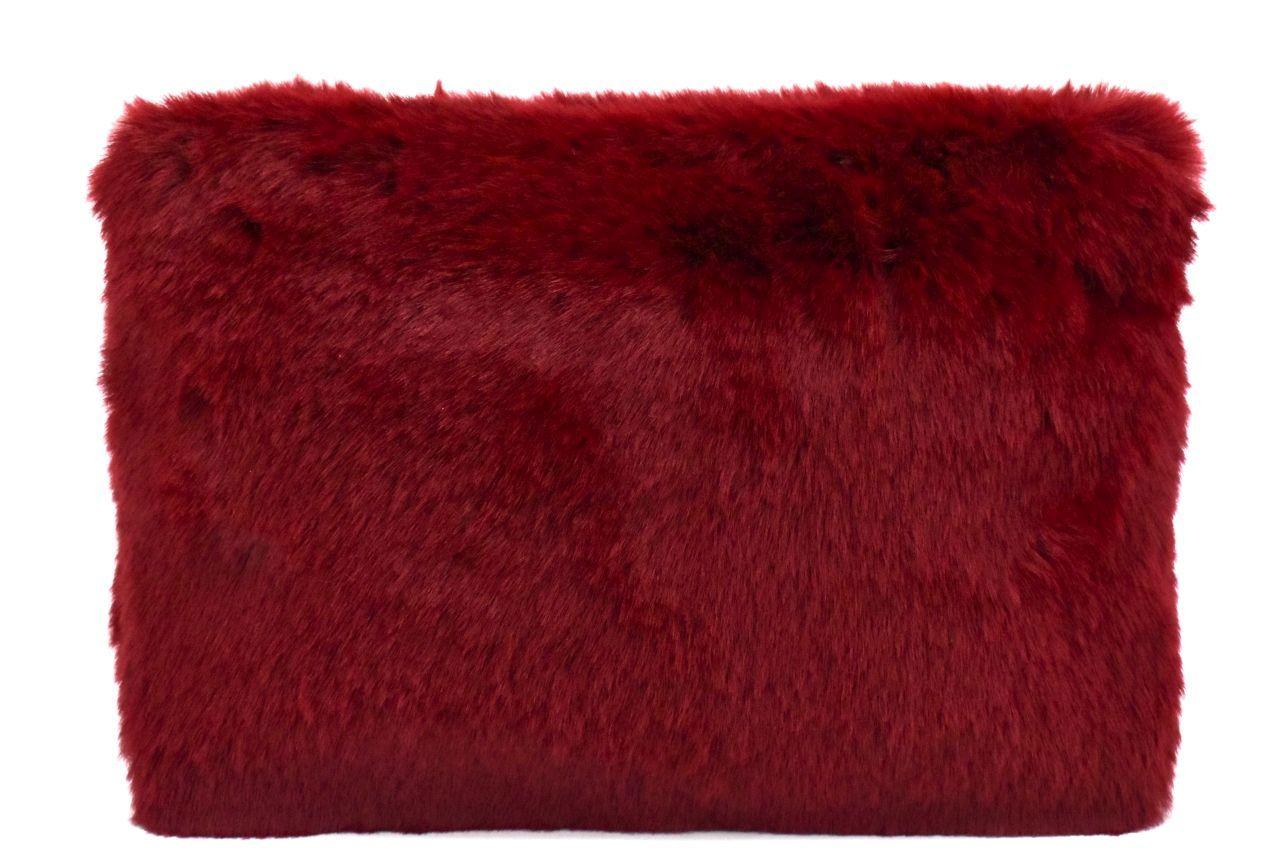 Dámská kabelka crossbody Melas / s umělé kožešiny - vínová 38752