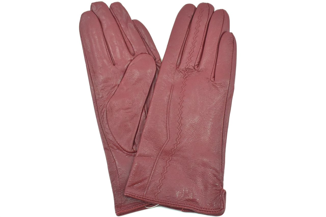 Levně Dámské kožené rukavice Arteddy - vínová (M)