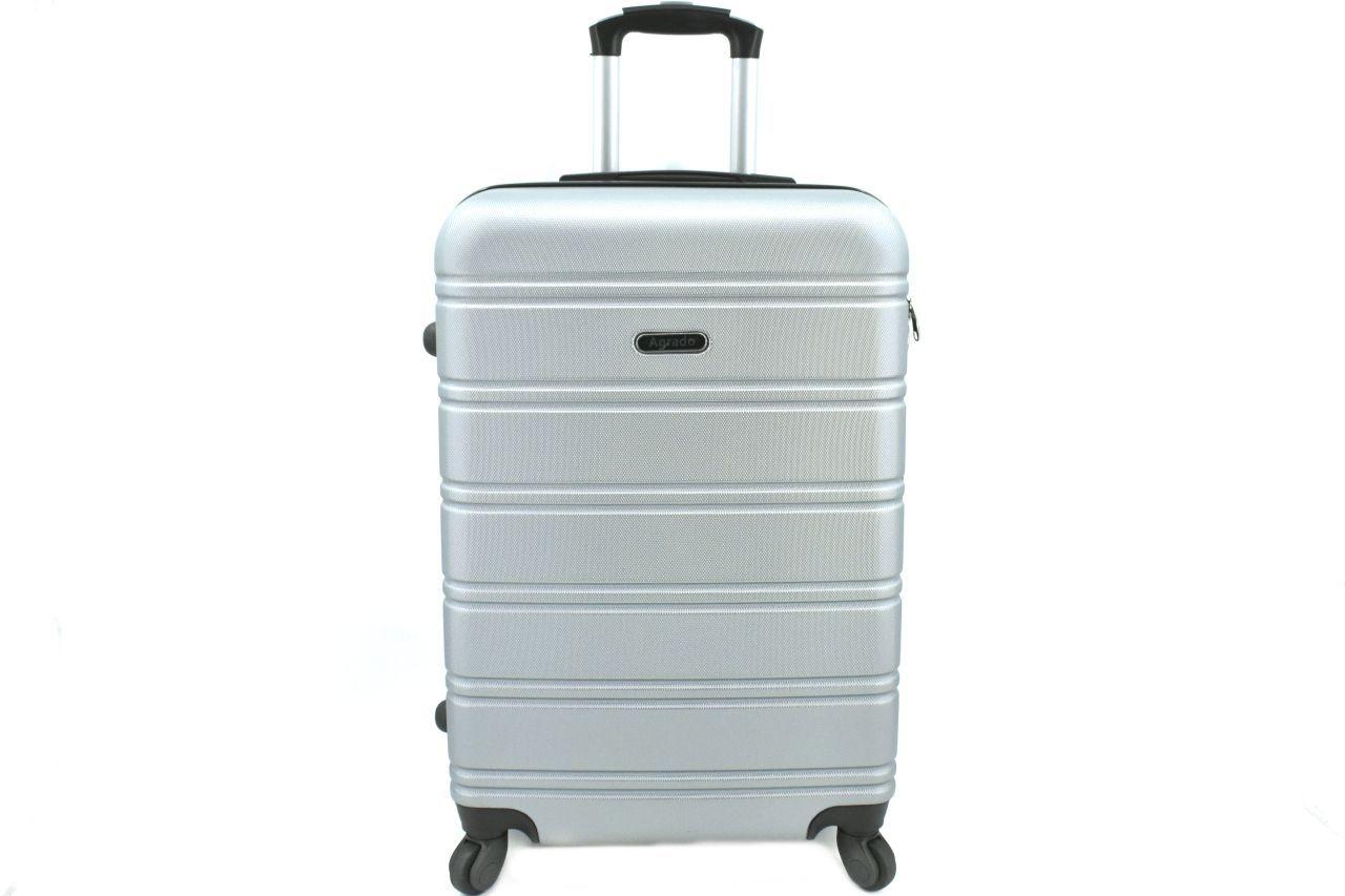 Cestovní kufr skořepinový na čtyřech kolečkách Agrado (M) 60l - stříbrná 6019 (M)