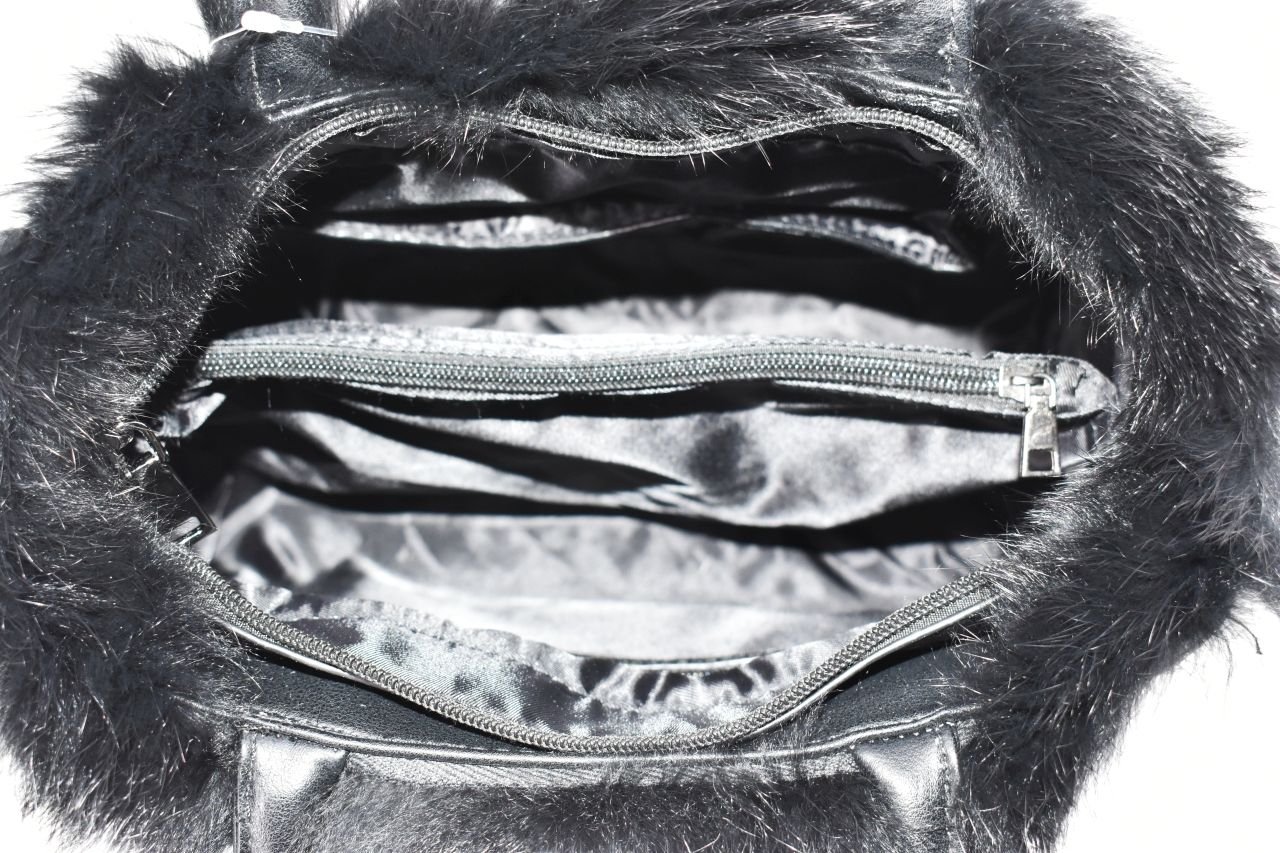 Dámská kabelka Herisson zdobená kožešinou - tmavě zelená 38738