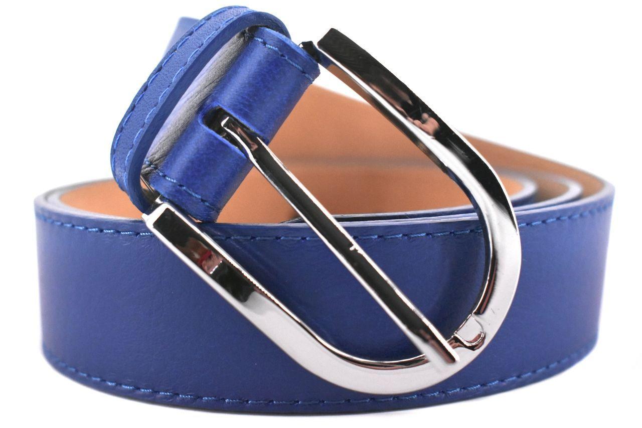 Dámský jednobarevný kožený opasek Arteddy - modrá/110 38968