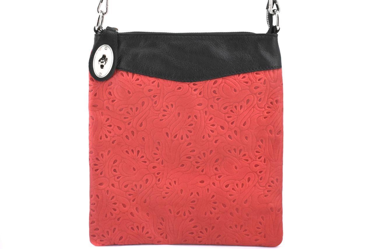 Dámská kožená kabelka crossbody Arteddy - červená/černá 35867