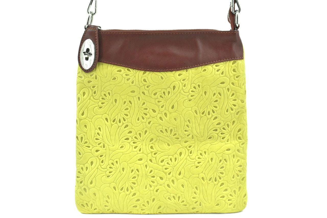 Dámská kožená kabelka crossbody Arteddy - zelená/hnědá 35867