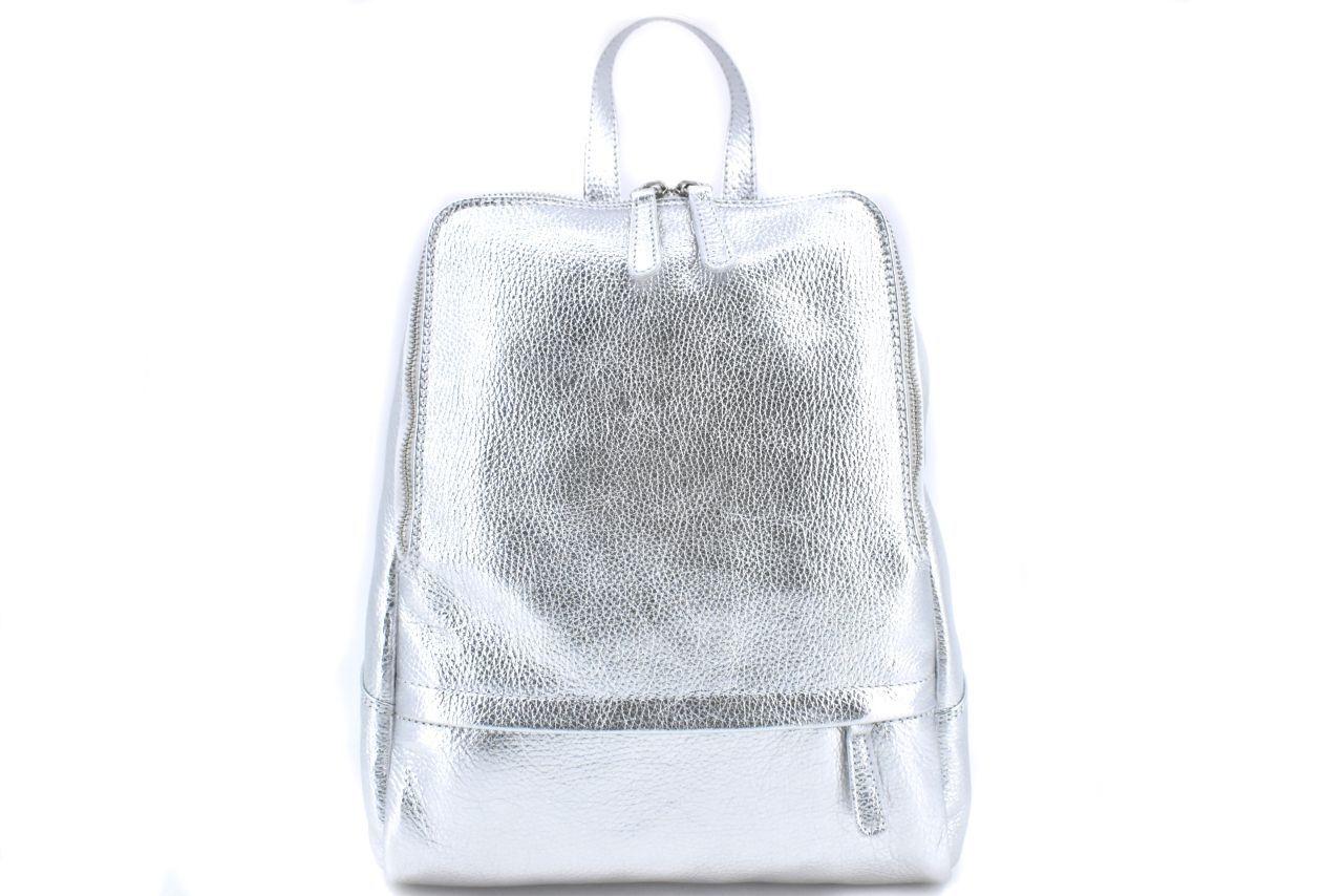 Dámský kožený batoh Arteddy - stříbrná 36931