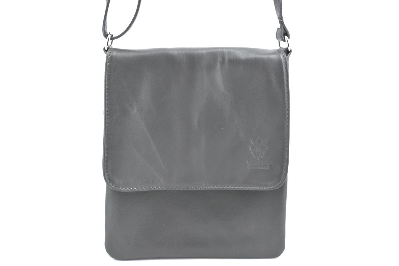 Levně Dámská kožená crossbody kabelka s klopnou Arteddy - tmavě šedá