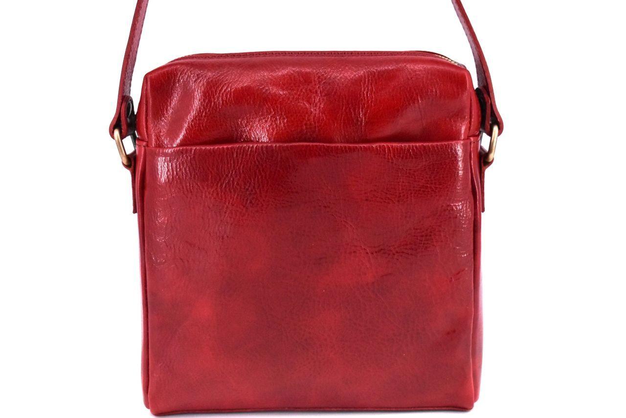Kožená taška přes rameno crossbody - červená 31063