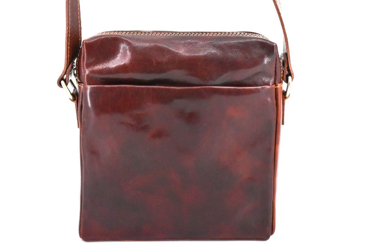 Kožená taška přes rameno crossbody - hnědá 31063
