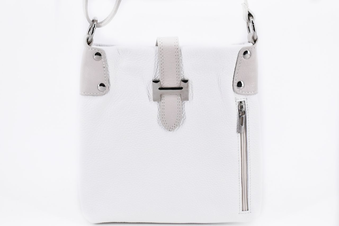 Dámská kožená kabelka crossbody Arteddy - bílá/krémová 36942