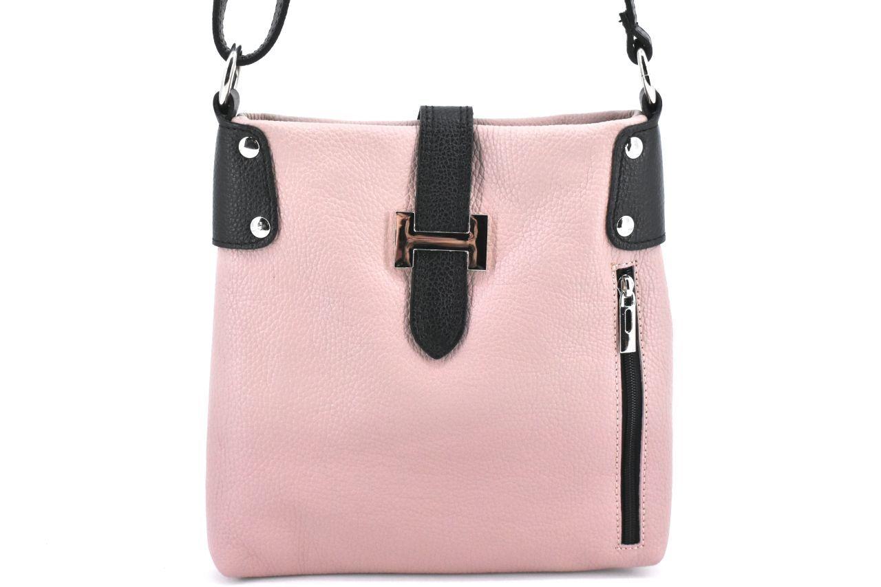 Dámská kožená kabelka crossbody Arteddy - růžová pudrová/černá 36942