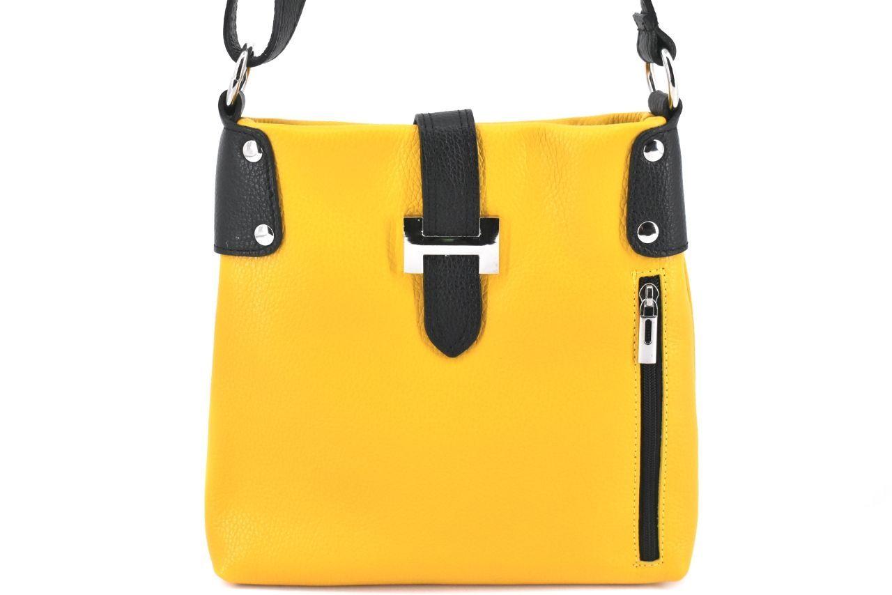 Dámská kožená kabelka crossbody Arteddy - žlutá/černá 36942