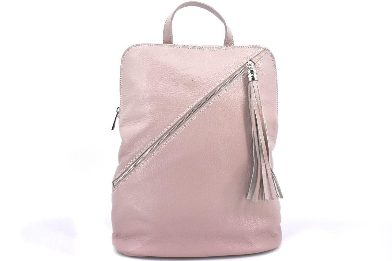 Dámský kožený batoh a kabelka v jednom /Arteddy - růžová/pudrová 36932