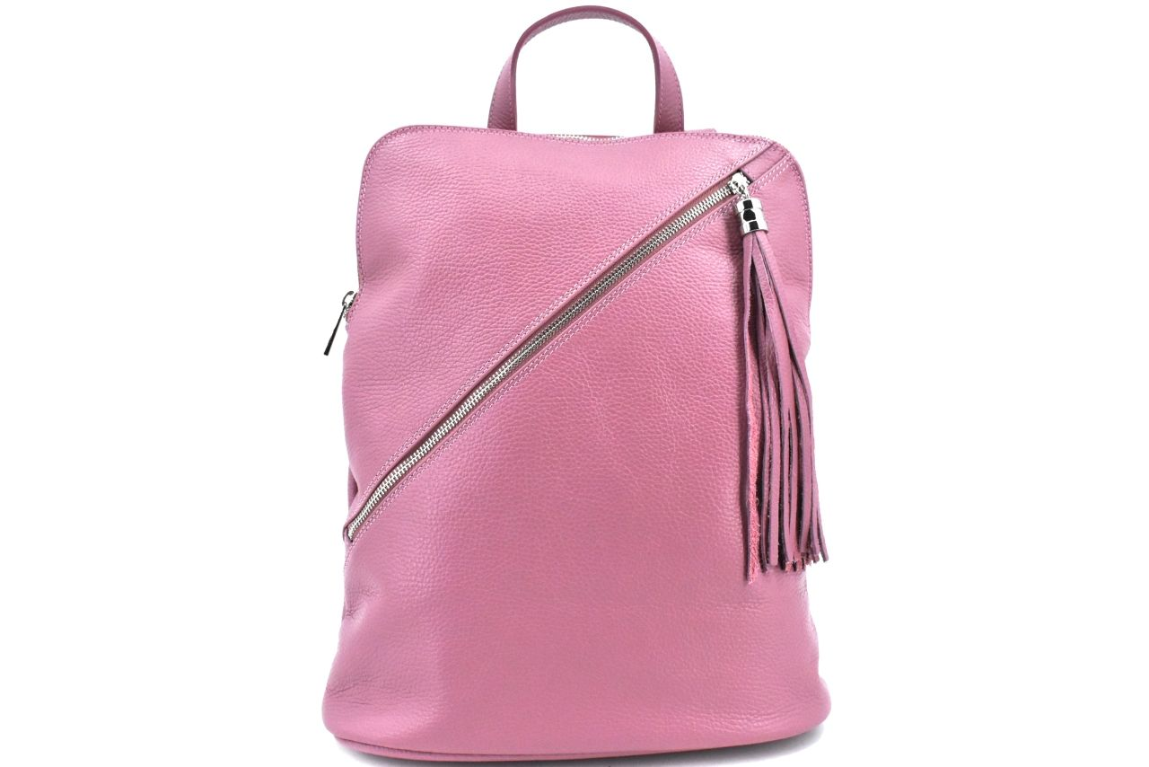 Dámský kožený batoh a kabelka v jednom /Arteddy - starorůžová 36932