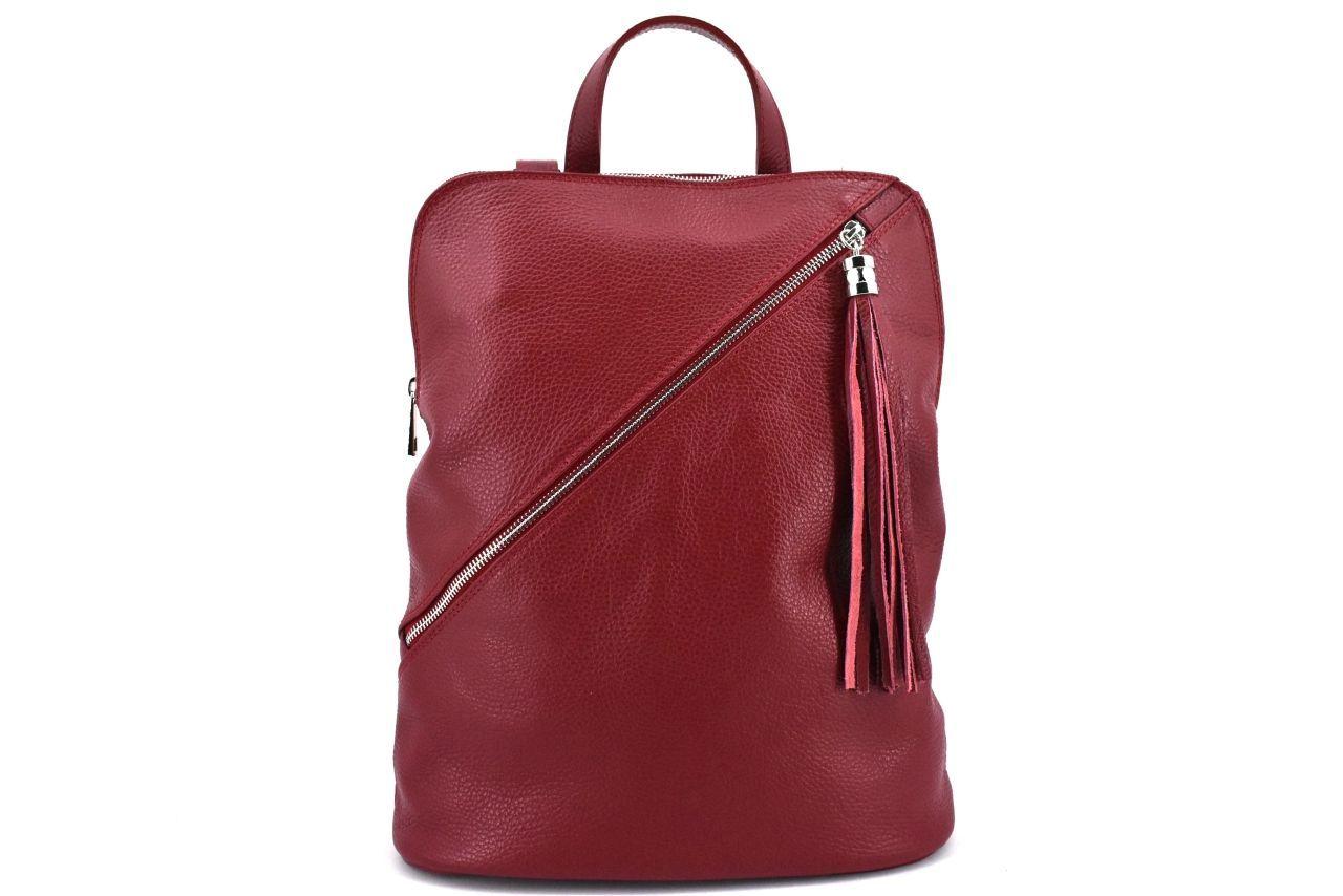 Dámský kožený batoh a kabelka v jednom /Arteddy - tmavě červená 36932