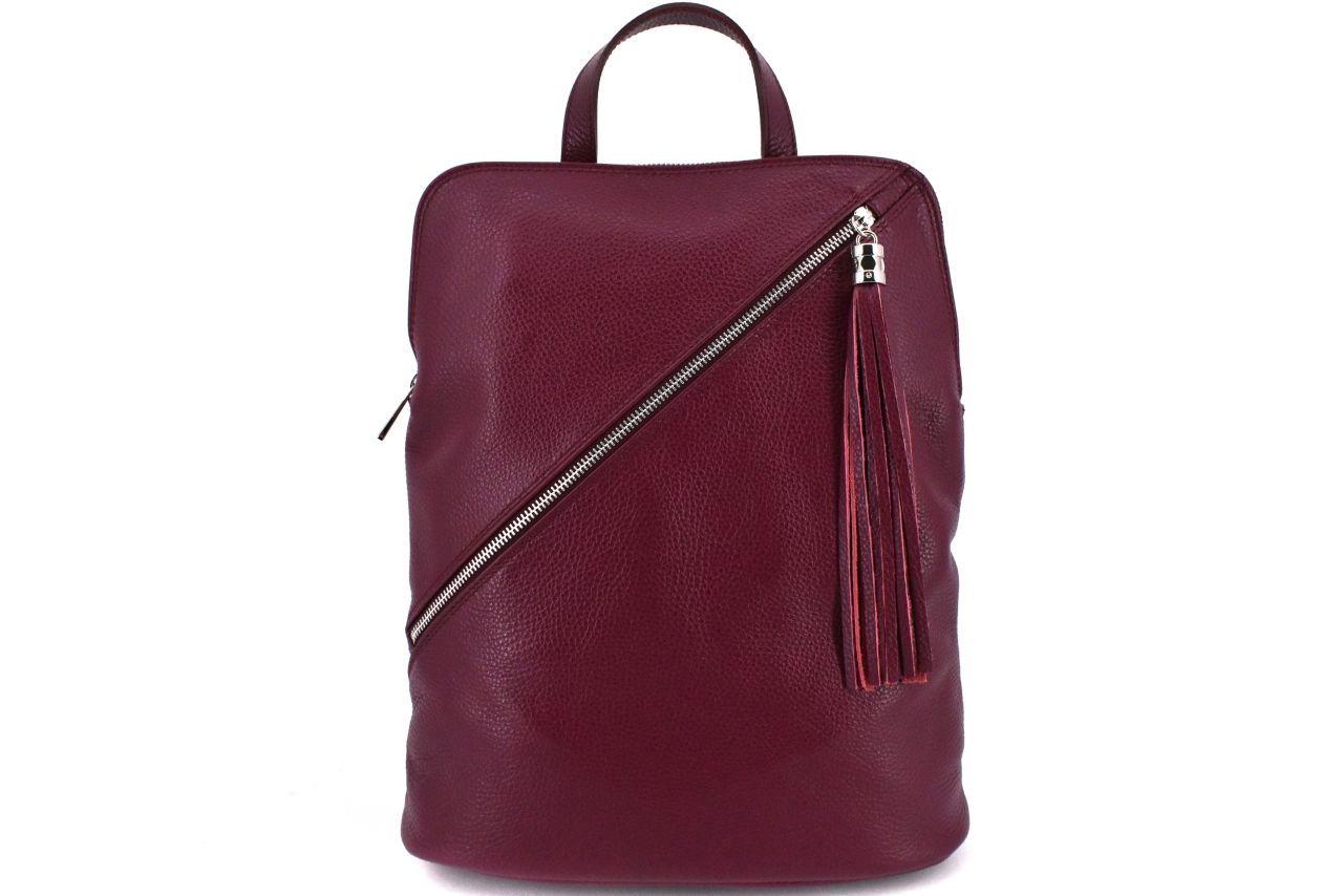 Dámský kožený batoh a kabelka v jednom /Arteddy - vínová 36932