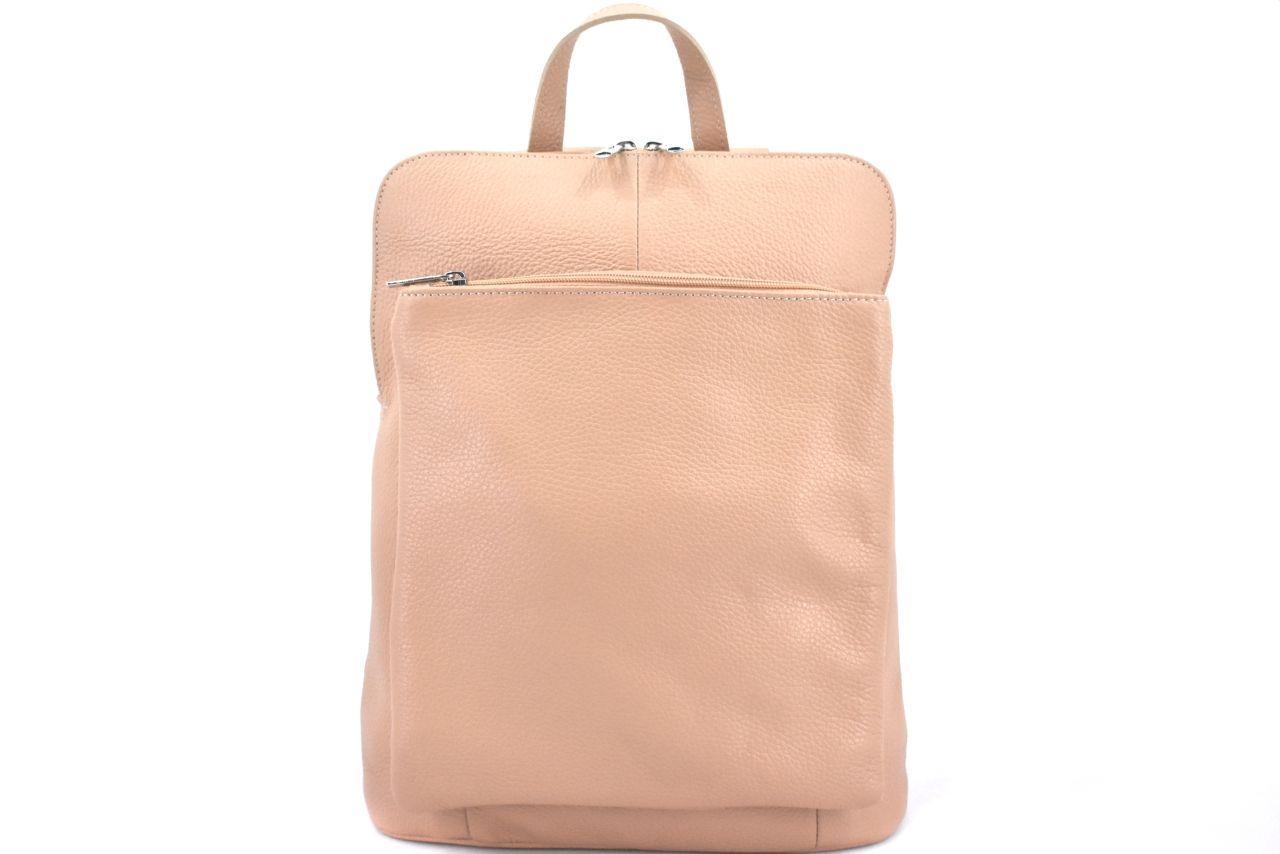 Dámský kožený batoh a kabelka v jednom / Arteddy - růžová/pudrová 36933
