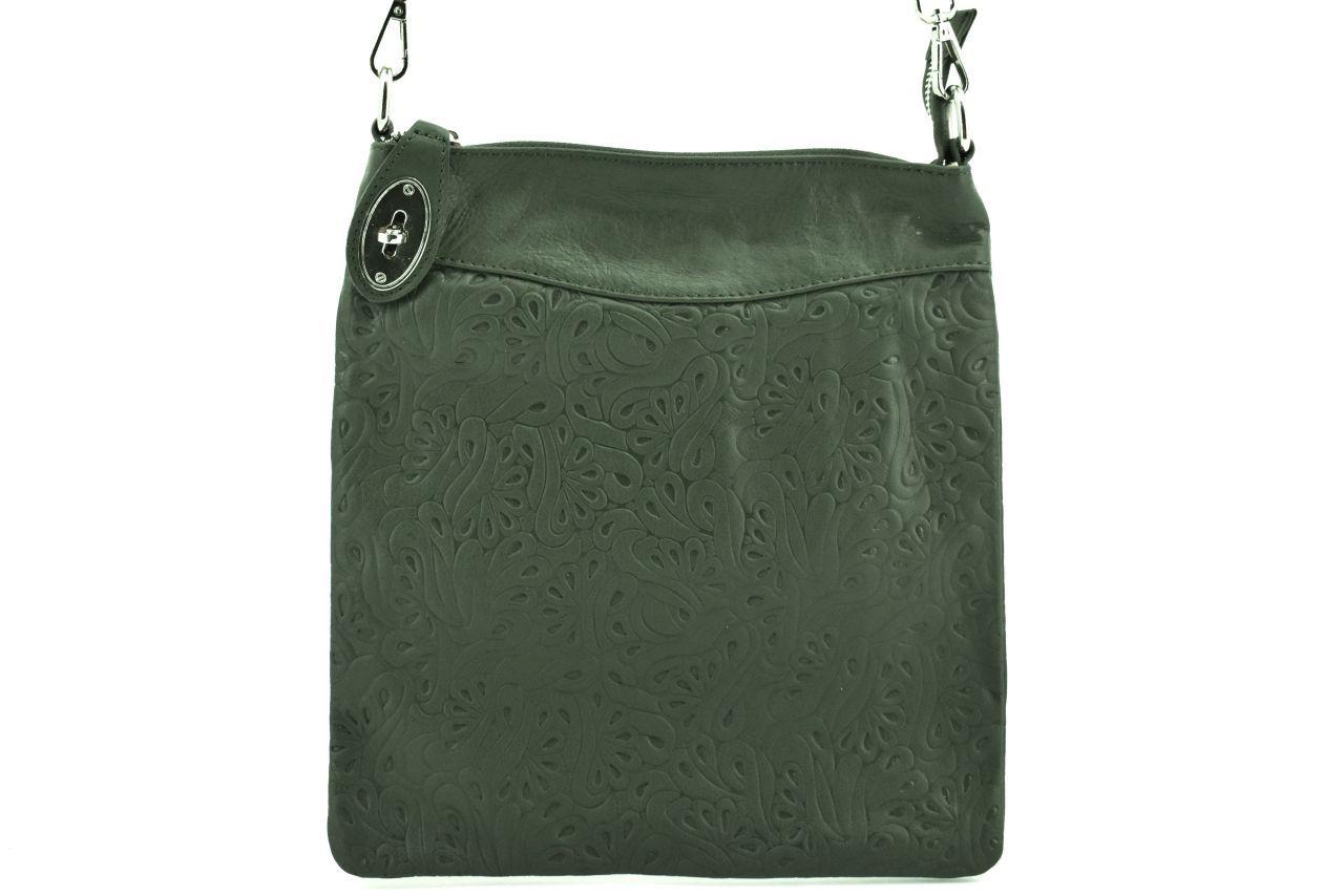 Dámská kožená kabelka crossbody Arteddy - tmavě zelená/zelená 35867