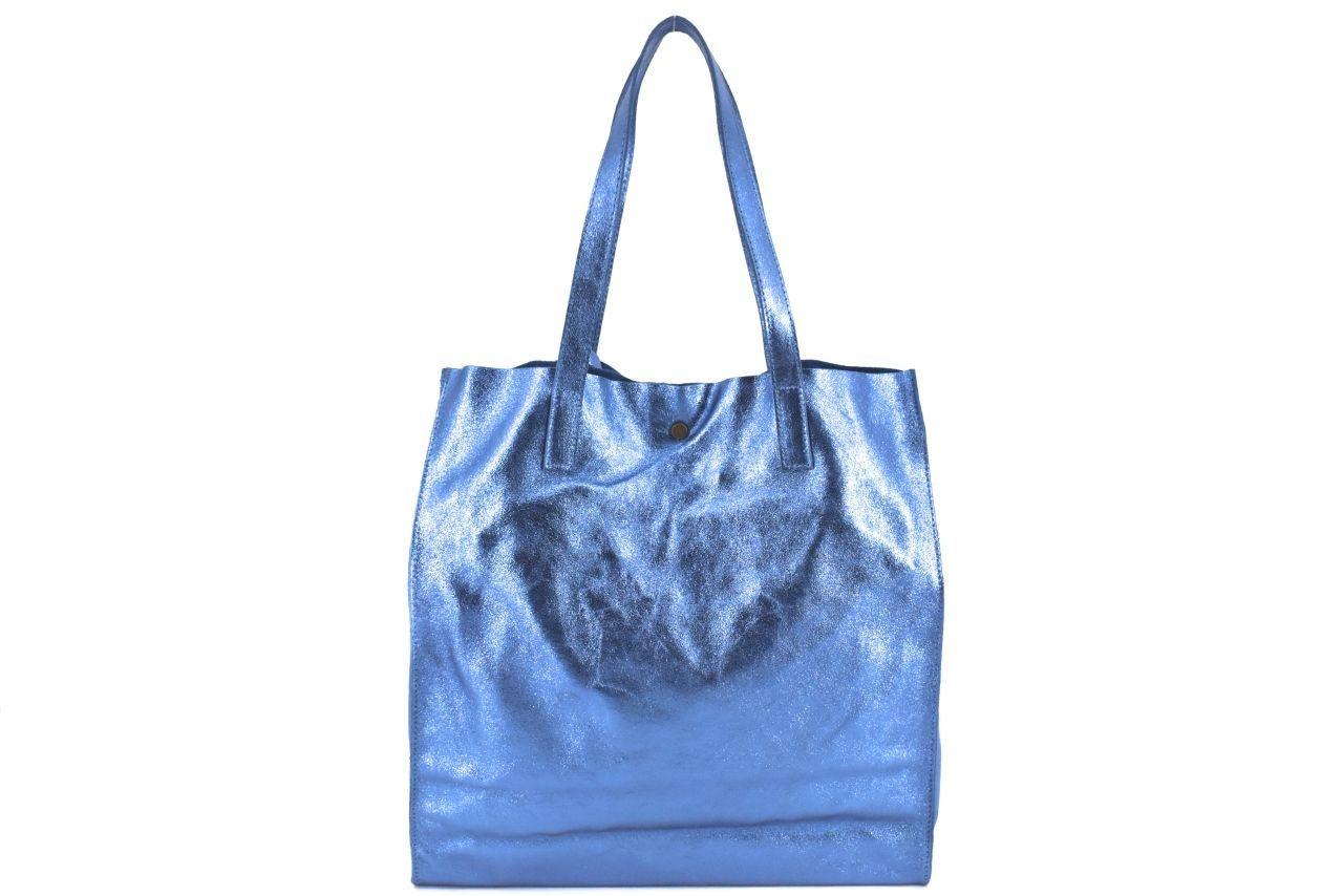 Dámská velká kožená kabelka Arteddy - tmavě modrá 39993