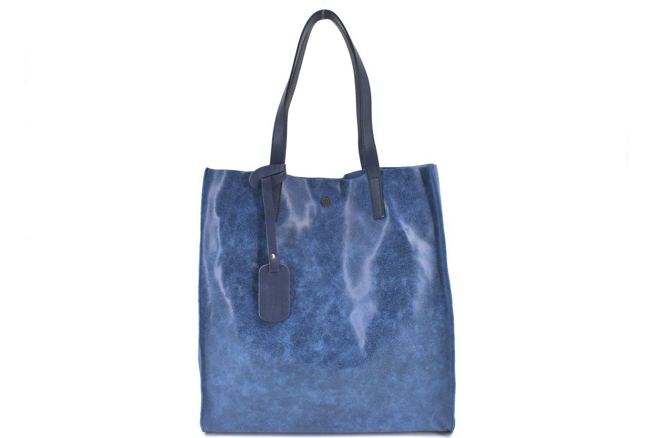 Dámská velká kožená kabelka Arteddy - modrá 39994