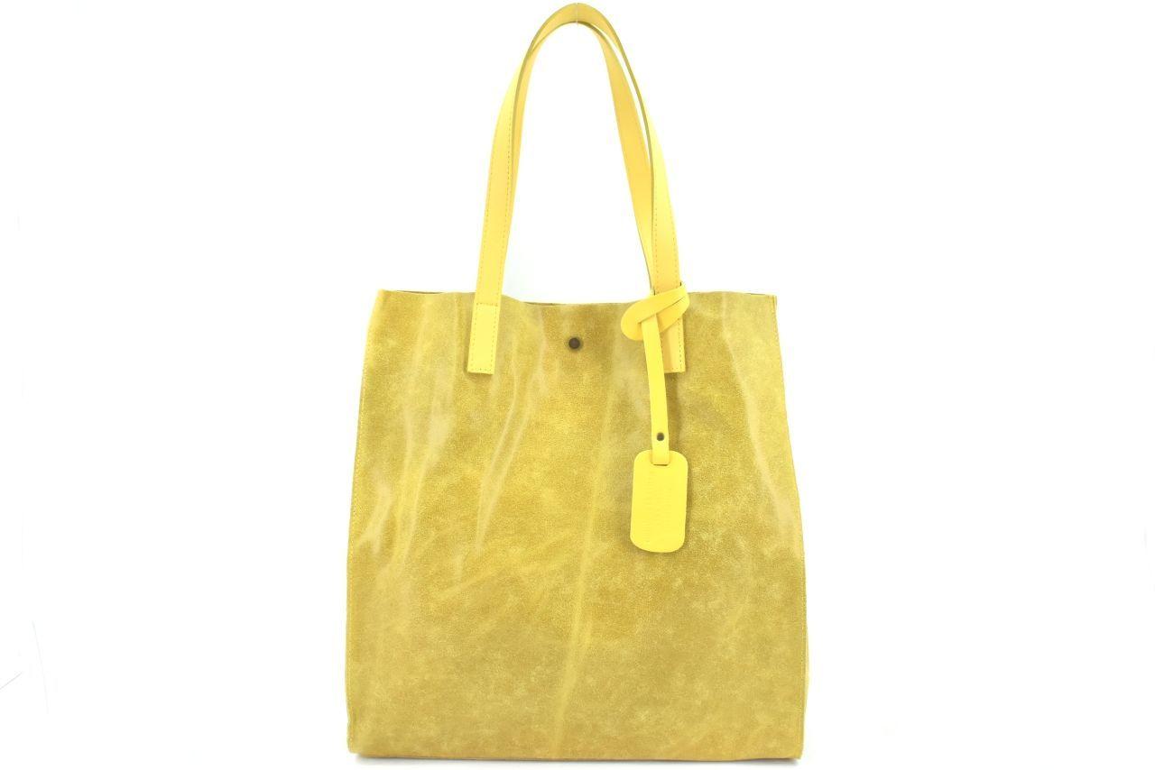 Dámská velká kožená kabelka Arteddy - žlutá 39994
