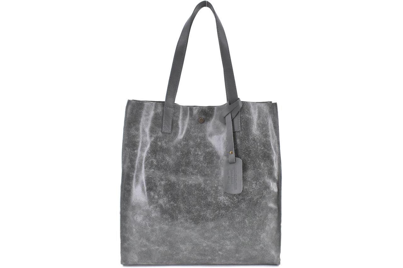 Dámská velká kožená kabelka Arteddy - tmavě šedá 39994