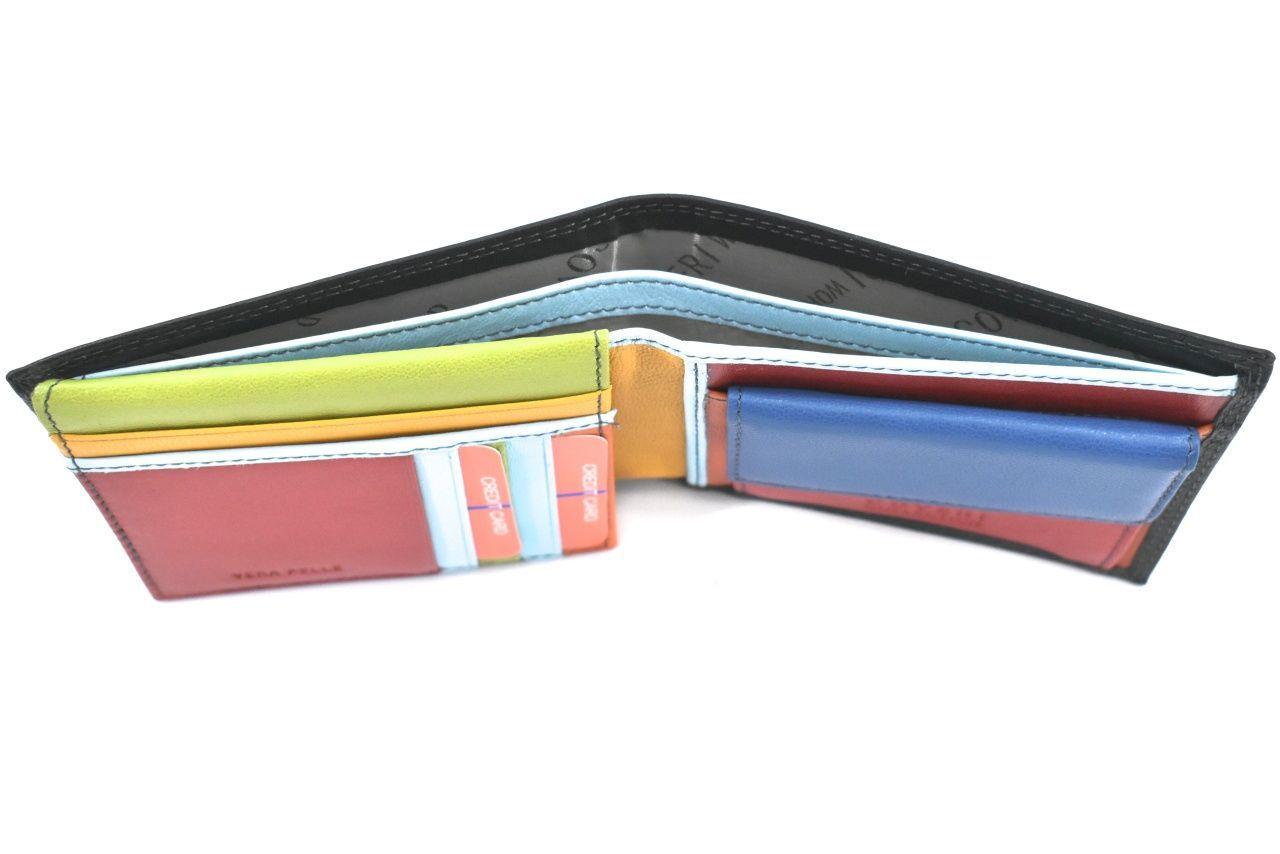 Pánská kožená peněženka na šířku Coveri - černá uvnitř multicolor 39821