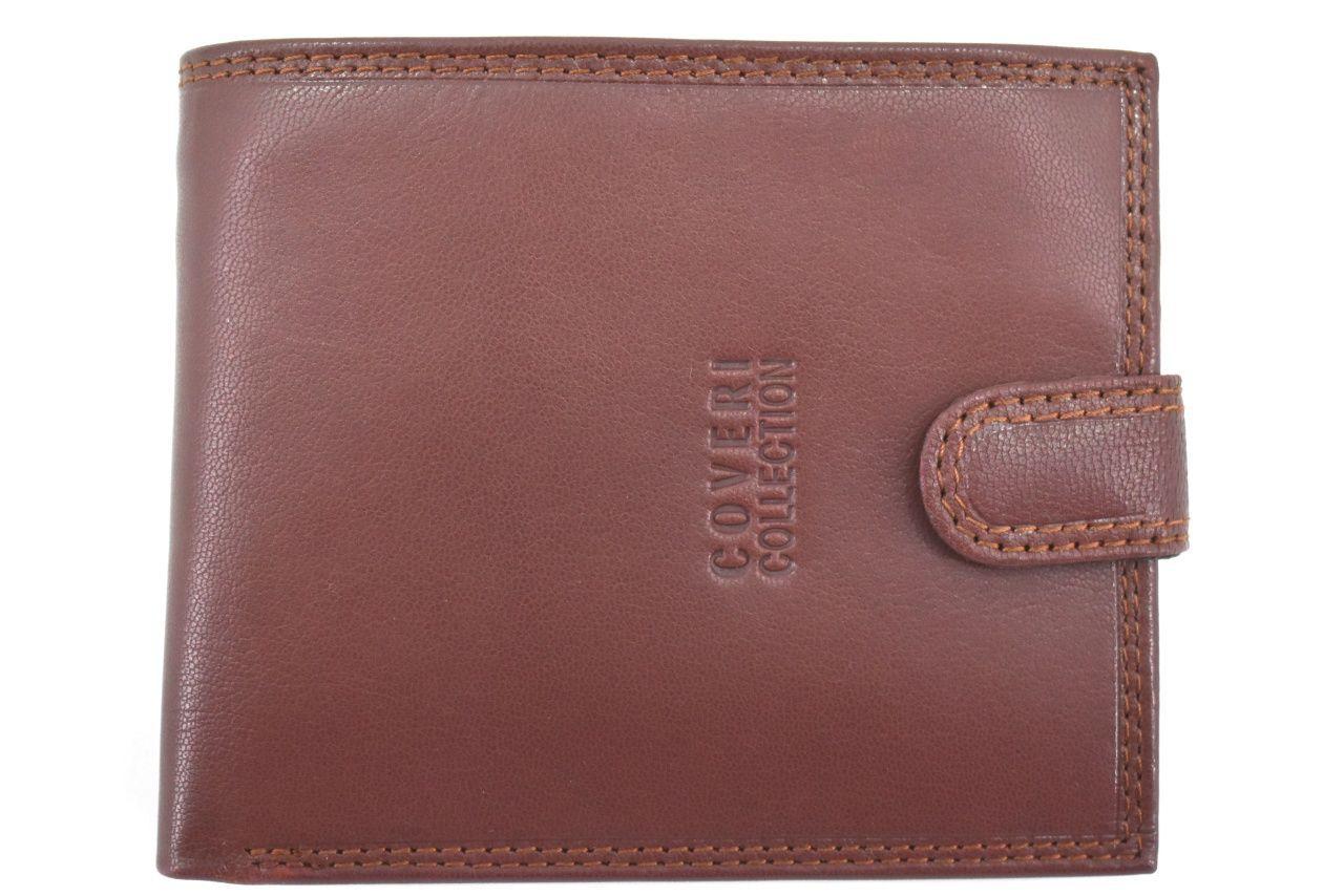 Pánská kožená peněženka na šířku se zápinkou Coveri - hnědá 39837