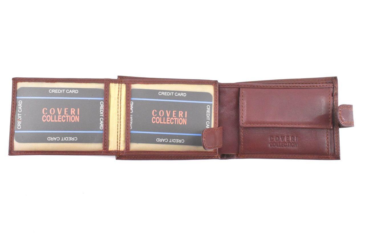Pánská kožená peněženka na šířku se zápinkou Coveri - hnědá 37194