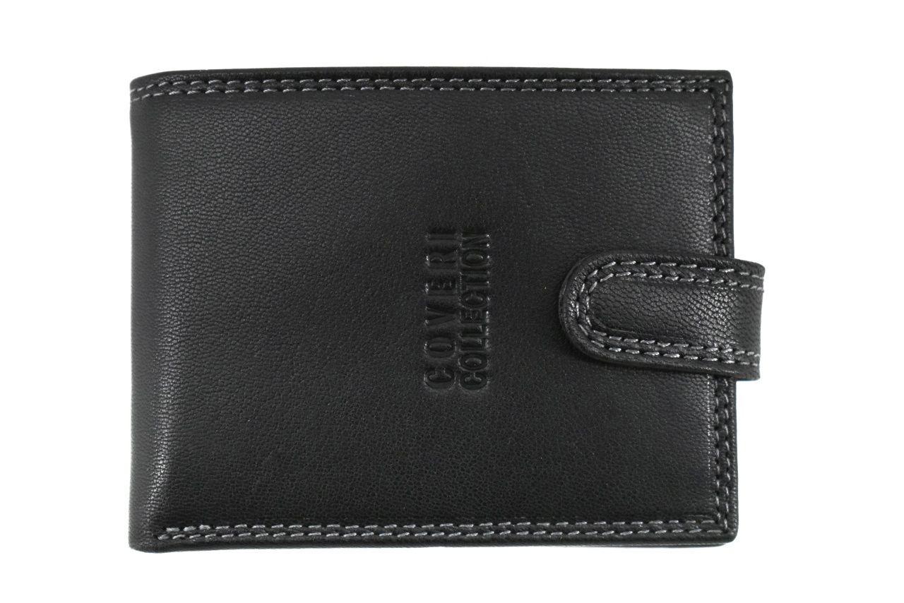 Pánská kožená peněženka na šířku se zápinkou Coveri - černá 37194