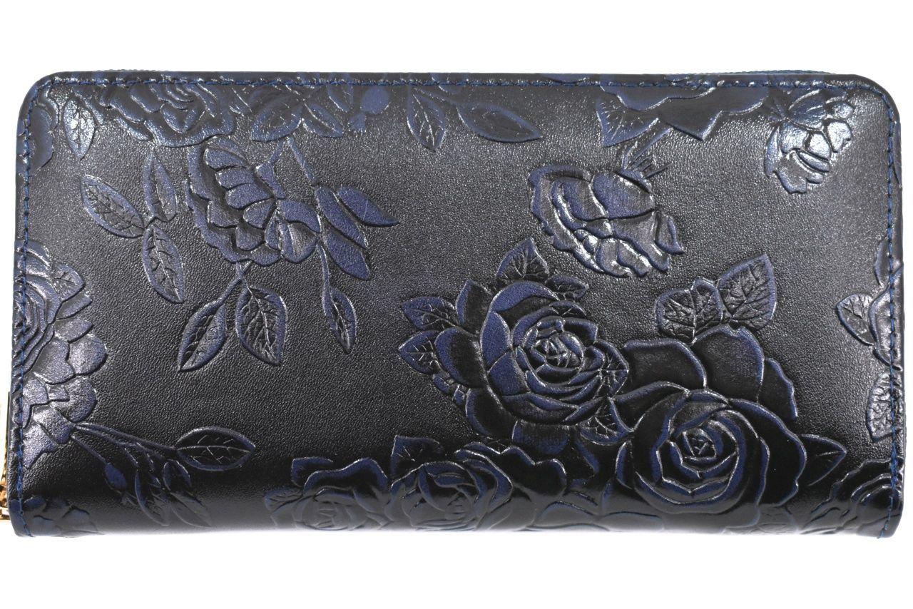 Dámská / dívčí velká peněženka pouzdrového typu s květovaným vzorem - tmavě modrá 37186