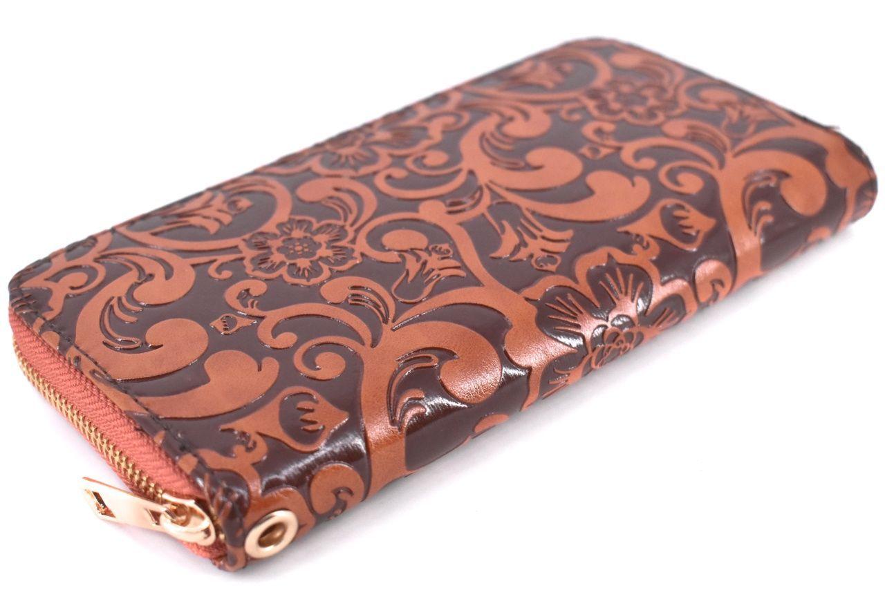 Dámská / dívčí peněženka pouzdrového typu s květovaným vzorem - tmevě modrá 37187