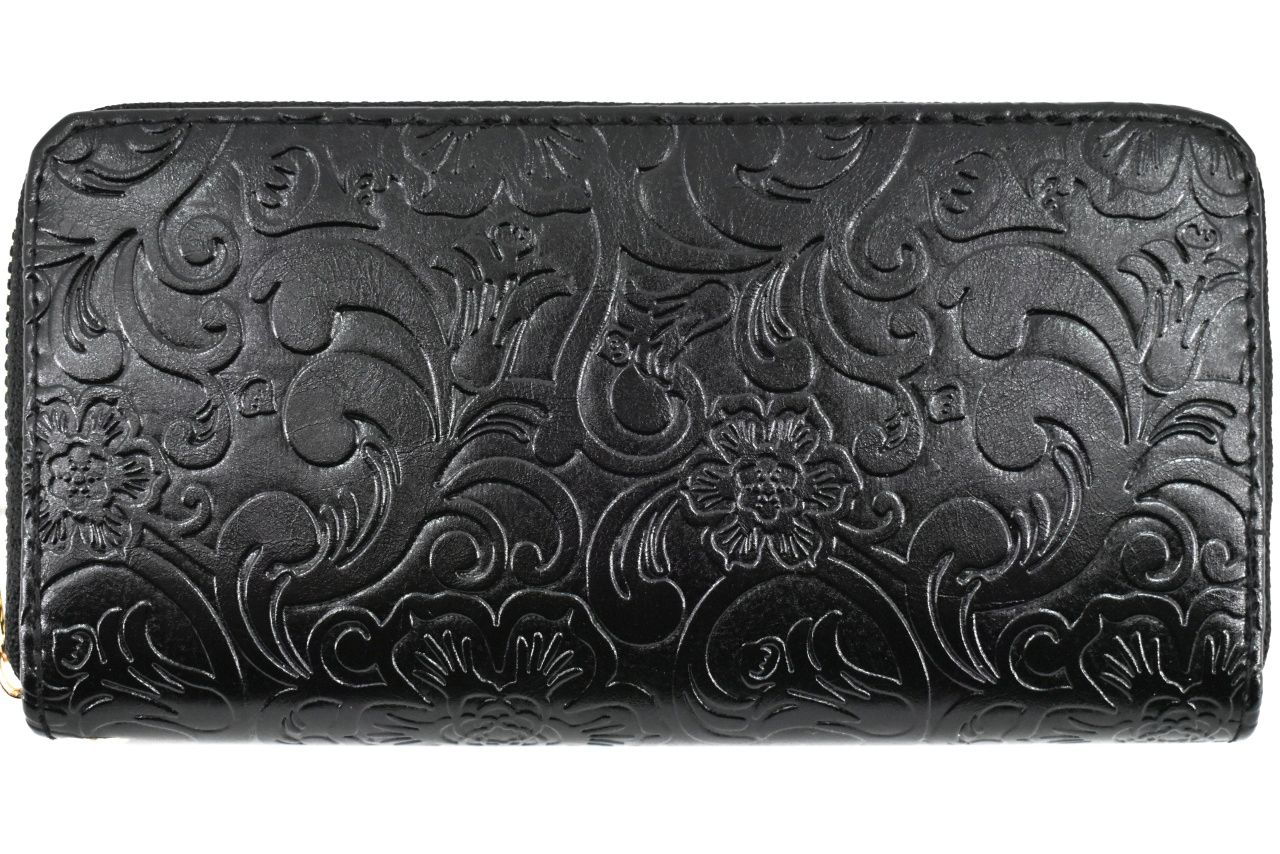 Dámská / dívčí peněženka pouzdrového typu s květovaným vzorem - černá 37187