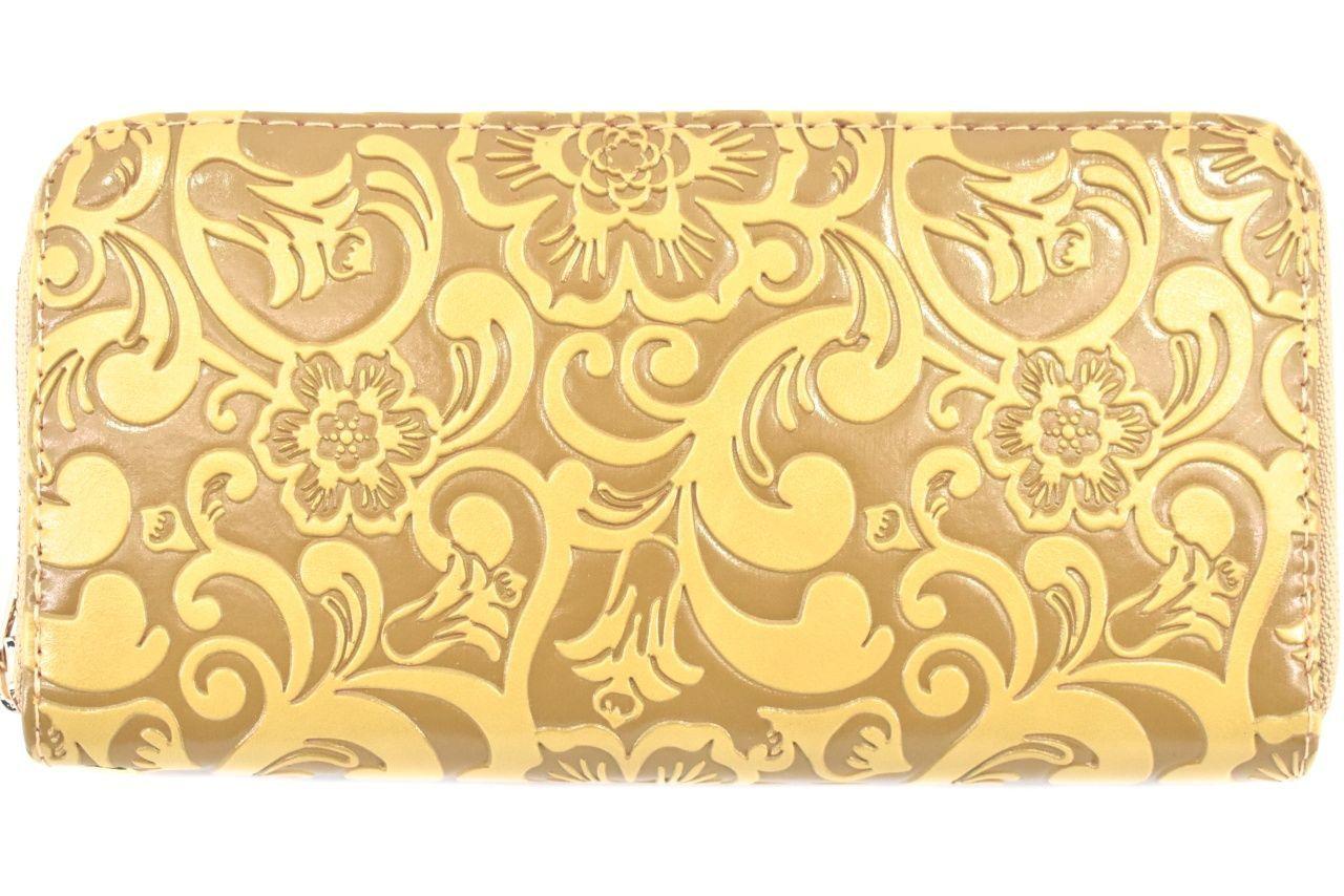 Dámská / dívčí peněženka pouzdrového typu s květovaným vzorem - béžová 37187