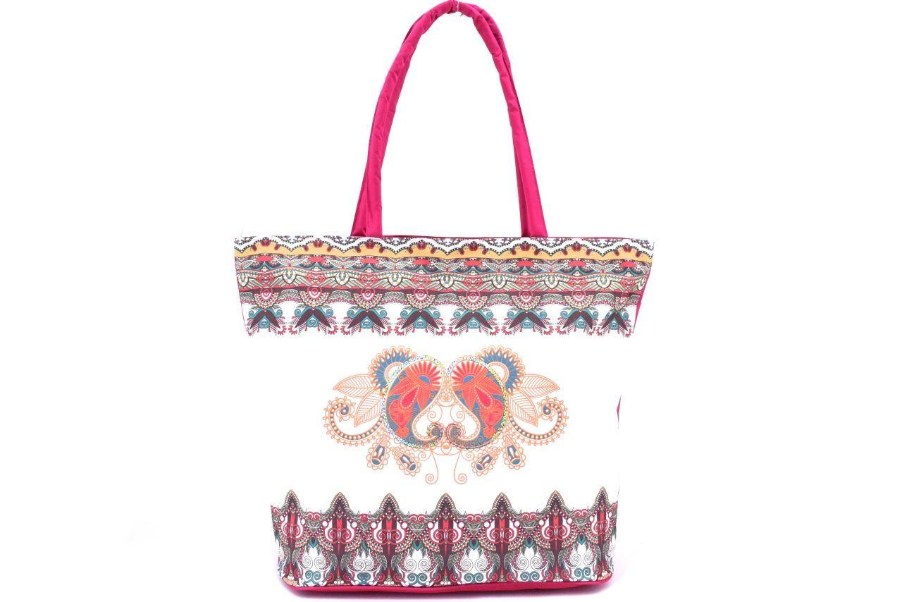 Velká plážová taška s potiskem - fuxia 39963