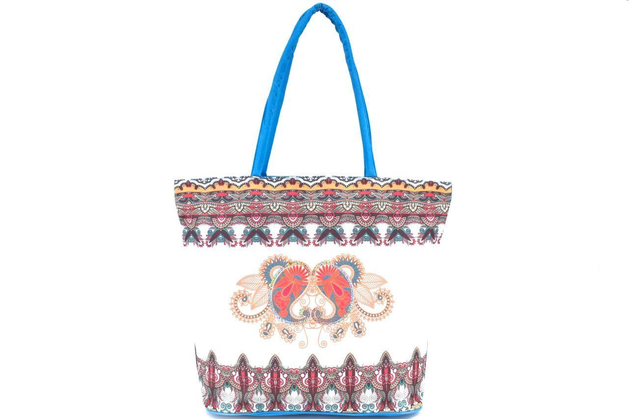 Velká plážová taška s potiskem - modrá 39963