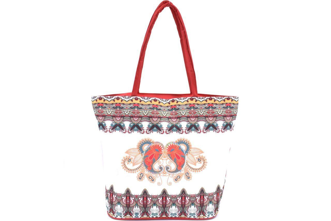 Velká plážová taška s potiskem - červená 39963