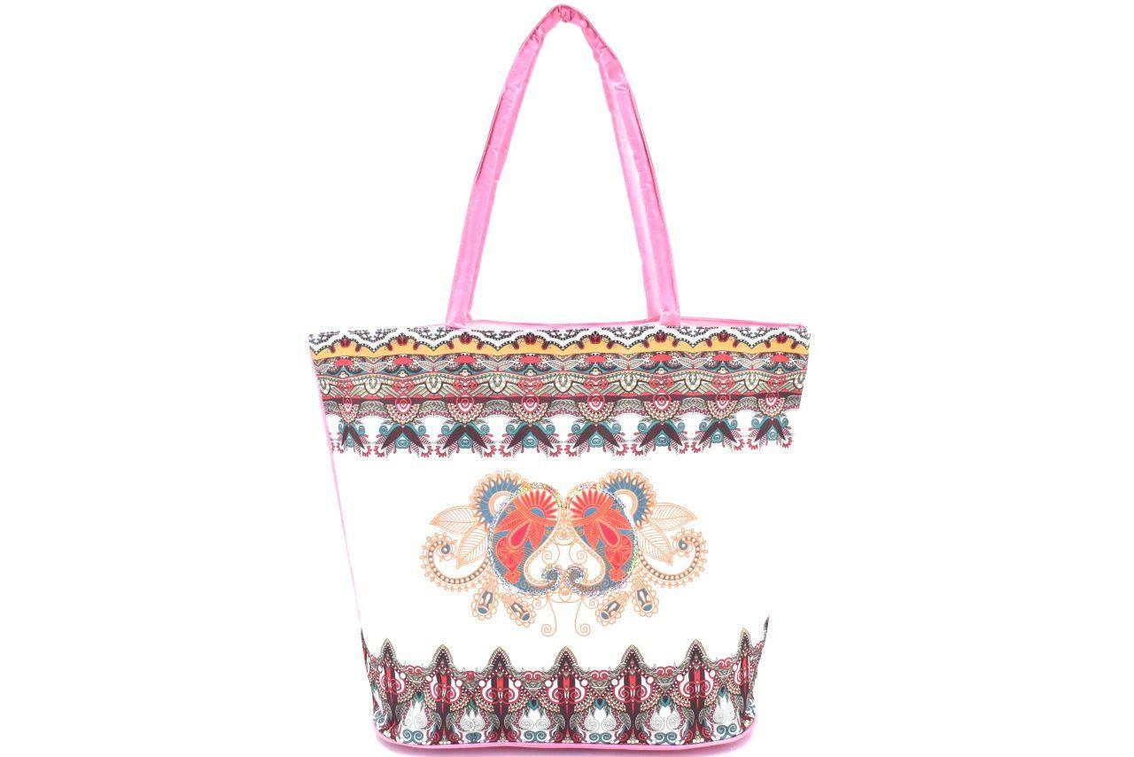 Velká plážová taška s potiskem - růžová 39963