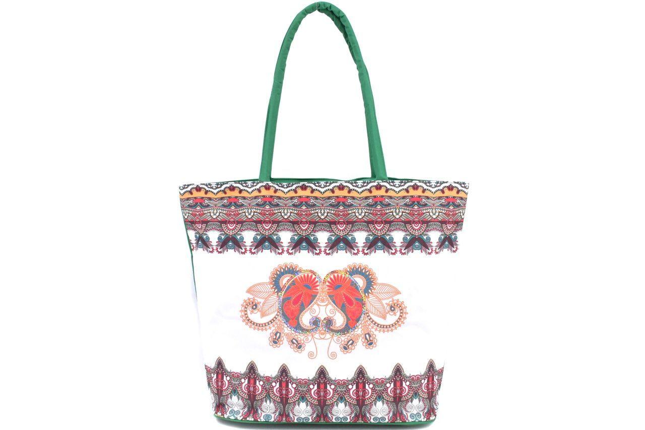 Velká plážová taška s potiskem - zelená 39963