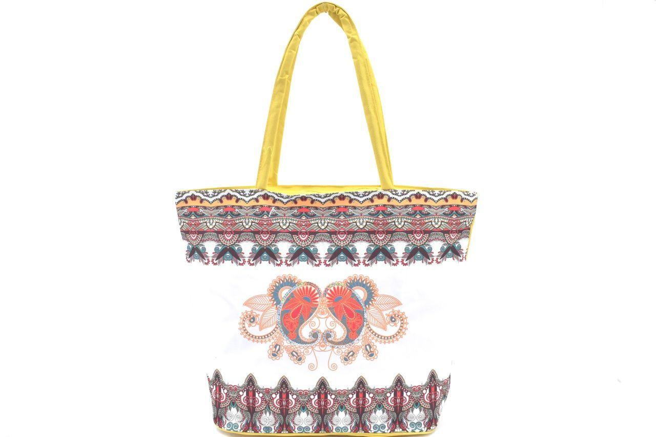 Velká plážová taška s potiskem - žlutá 39963