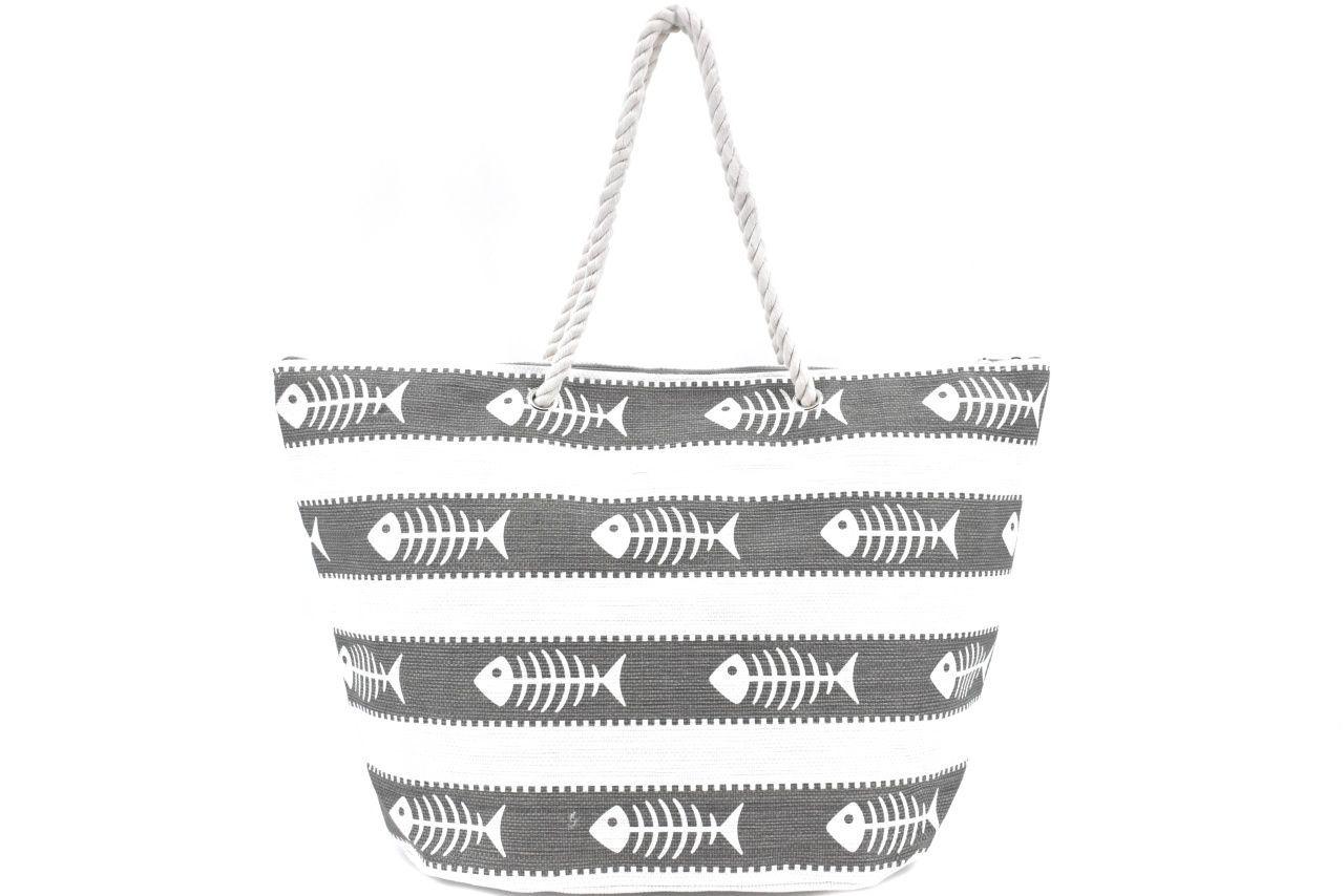 Velká plážová taška s potiskem - šedá 39970