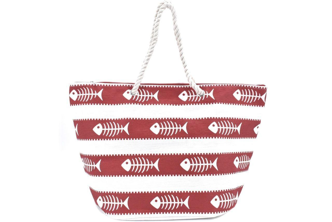 Velká plážová taška s potiskem - červená 39970