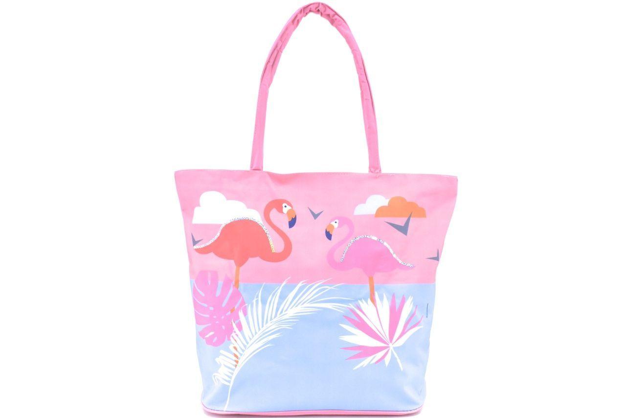 Velká plážová taška s potiskem plameňák - růžová 39964