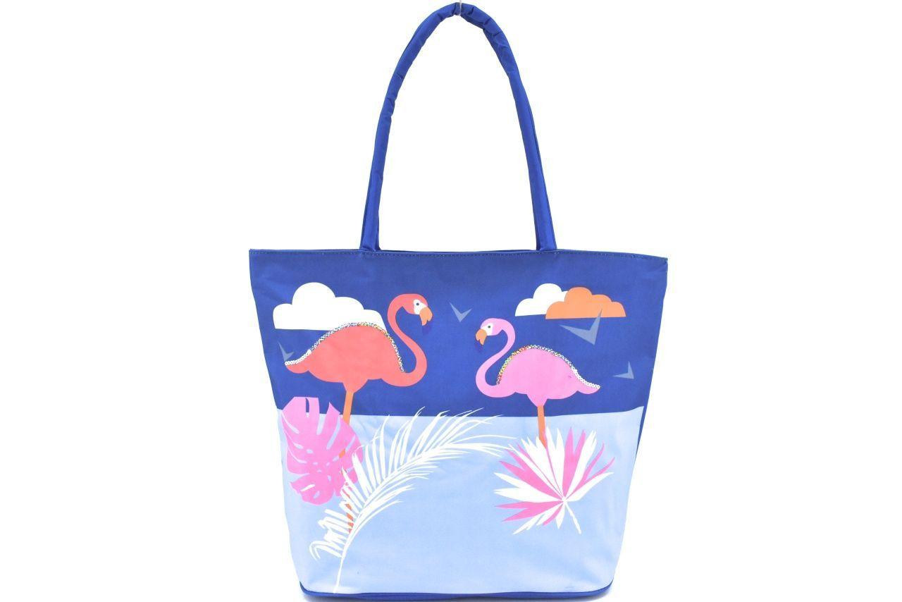 Velká plážová taška s potiskem plameňák - modrá 39964