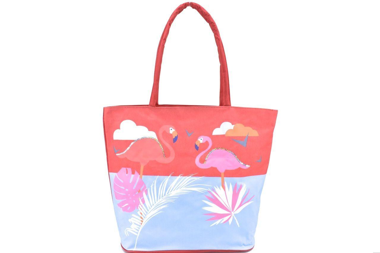 Velká plážová taška s potiskem plameňák - červená 39964