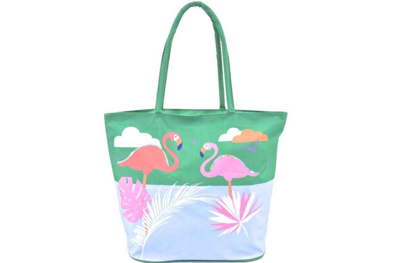 Velká plážová taška s potiskem plameňák - zelená 39964