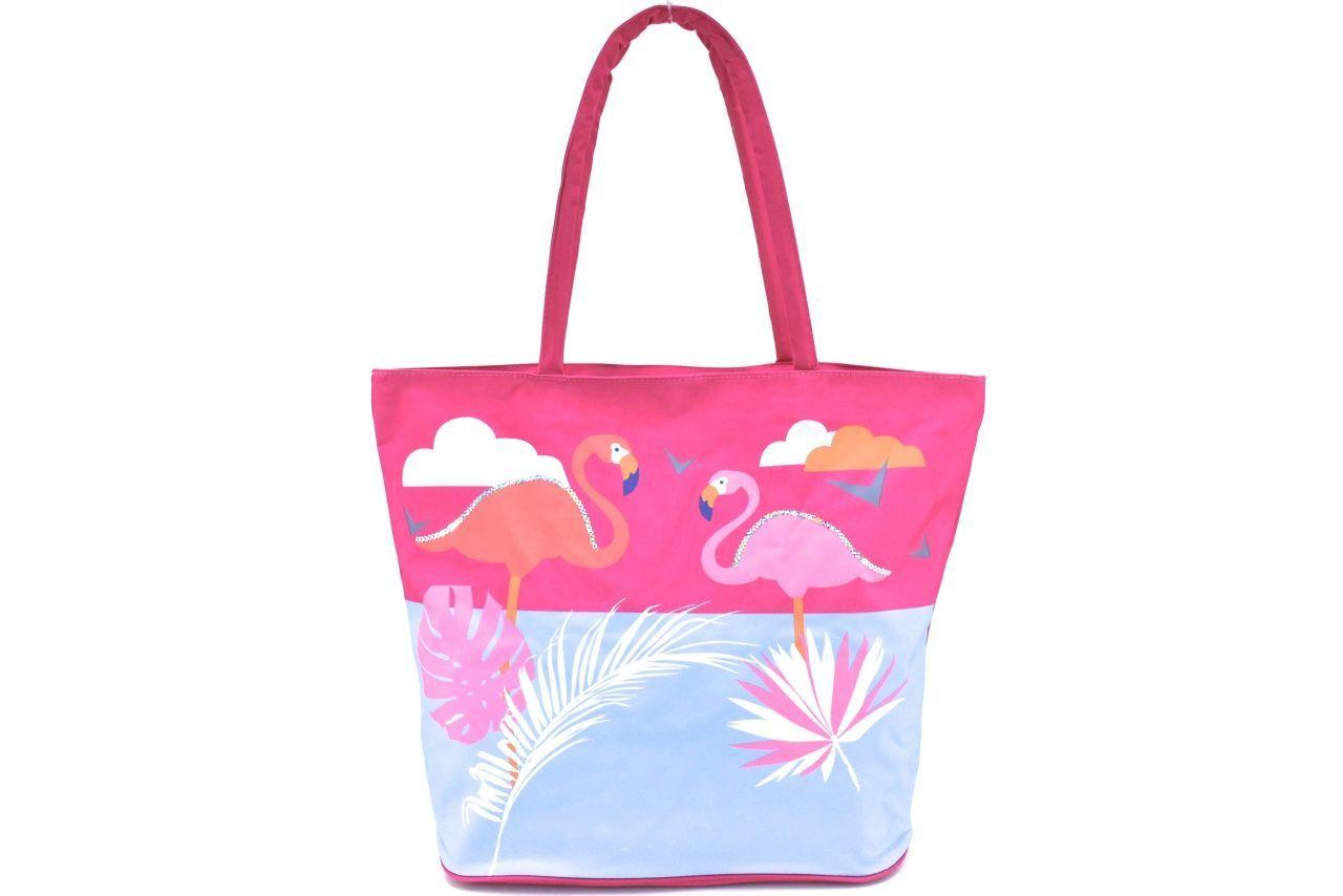 Velká plážová taška s potiskem plameňák - fuxia 39964