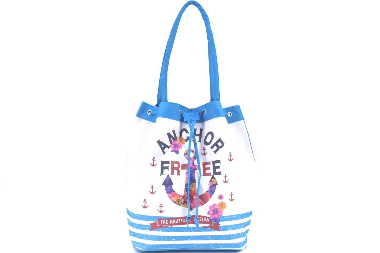 Velká plážová taška s potiskem kotva - světle modrá 39962