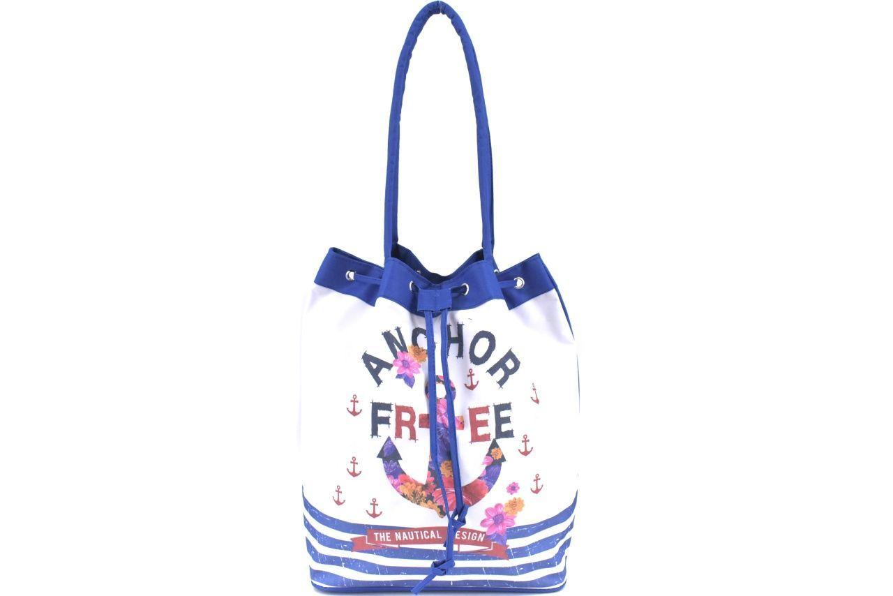 Velká plážová taška s potiskem kotva - modrá 39962