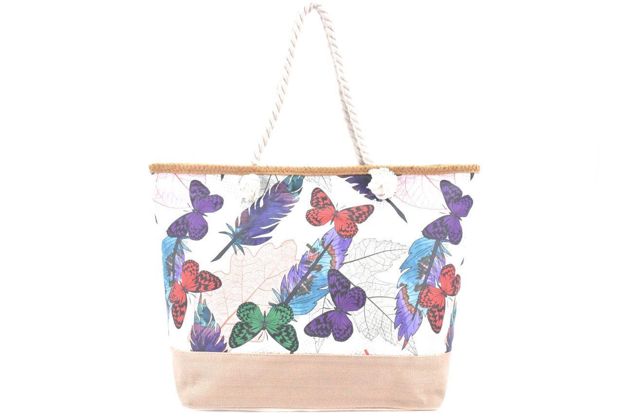 Velká plážová taška s potiskem - bílá/motýl 39972