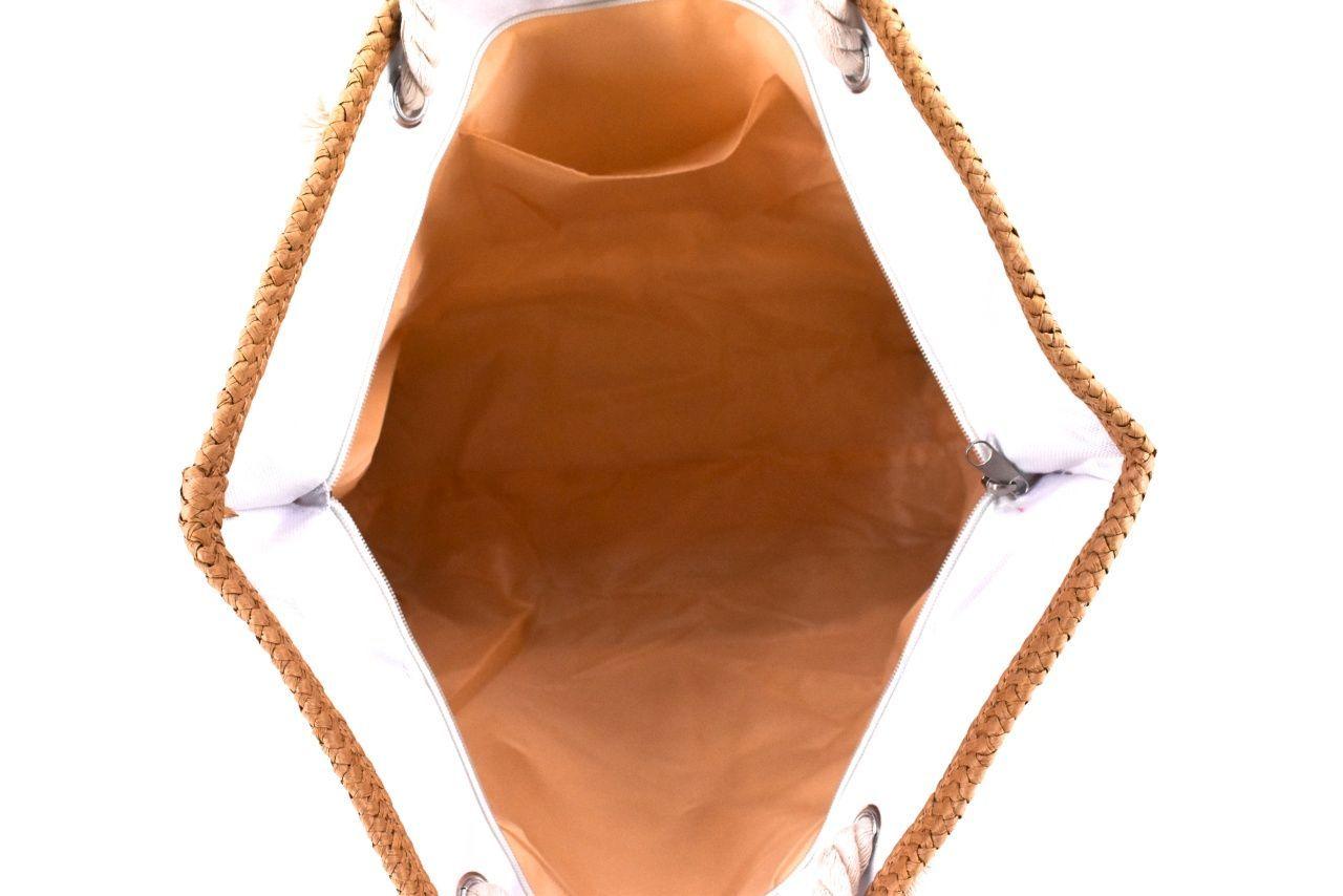 Velká plážová taška s potiskem - krémová/kolibřík 39972